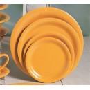 "Thunder Group CR107YW Yellow Melamine Narrow Rim Round Plate 7-1/4""  (1 Dozen) width="