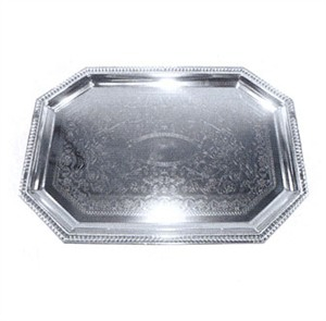 Winco CMT-1217 Chrome Plated Octagon Serving Tray, 17'' x 12-1/2''
