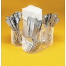 Silverware Caddy & Napkin Holder - 8''W X 8''D X 5''H - Clear width=