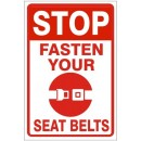 Traffic - Stop Fasten Your (Picto) Seat Belts (Reflective) [24X18 Aluminum Reflective] width=