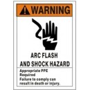 Warning (Picto) Arc Flash And Shock Hazard Appropriate Ppe Required Failure To Comply Can Result In width=
