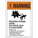 Warning (Picto) Hazardous Voltage Inside. Can Shock Burn Or Cause Death. Keep Out If Open Or width=
