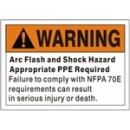 Warning Arc Flash And Shock Hazard Appropriate Ppe Required Failure To Comply With Nfpa 70E width=