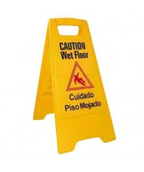 "Winco WCS-25 Yellow Wet Floor Caution Sign, 12"" x 25"""