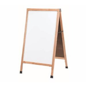 "Aarco A-5 A-Frame Sidewalk Board with White Melamine Markerboard and Oak Frame 42""x24"""